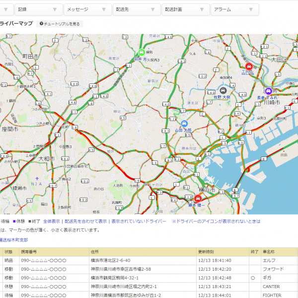 リアルタイムドライバーマップ 管理画面